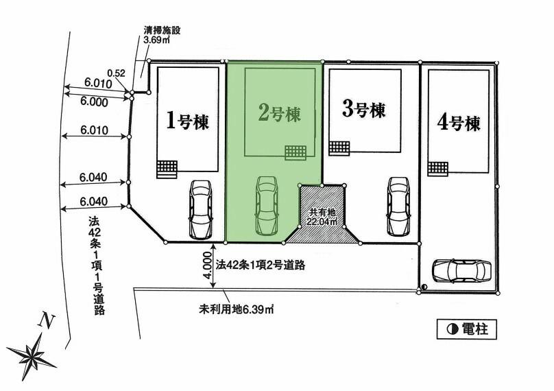 区画図 2号棟:駐車スペースあり
