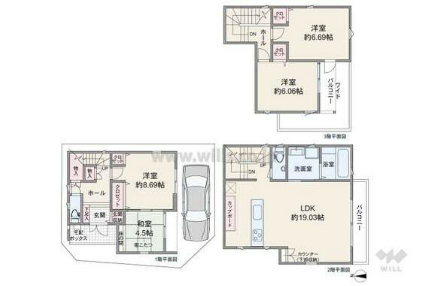 間取り図 4LDKの間取りです。リビング階段になっており、LDKを通って各居室へアクセスするため家族の動きが見えやすいプランです。