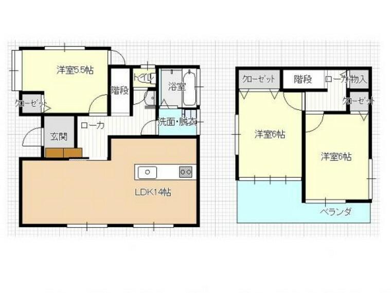 間取り図 【リフォーム後間取図】3LDKの2階建て住宅です。2間続きの和室をリビングに変更し、開放的な空間に仕上げました。