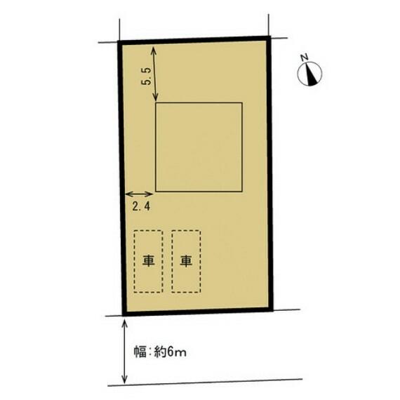 区画図 【区画図】住宅の土地図面です。駐車スペースも分かりやすくていいですね。道路も4m以上の広さがあり通行も安心ですね。