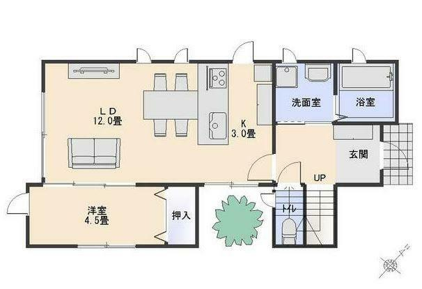 間取り図 1F間取り図です。 対面式キッチンに坪庭と人気の設備を採用しました。