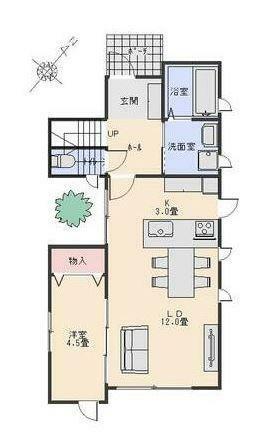 間取り図 1F間取り図です。 対面式キッチン、広いLDK。