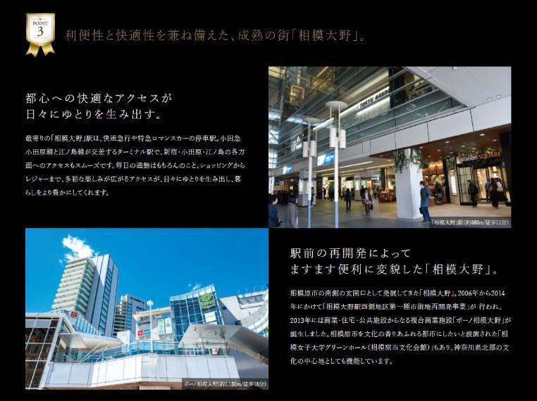 現況写真 【利便性と快適性を兼ね備えた、成熟の街「相模大野」。】 都心への快適なアクセスが 日々にゆとりを生み出す。 最寄りの「相模大野」駅は、快速急行や特急ロマンスカーの停車駅。小田急小田原線と江ノ島線が交差するターミナル駅で、新宿・小田原・江ノ島の各方面へのアクセスもスムーズです。毎日の通勤はもちろんのこと、ショッピングからレジャーまで、多彩な楽しみが広がるアクセスが、日々にゆとりを生み出し、暮らしをより豊かにしてくれます。 駅前の再開発によって ますます便利に変貌した「相模大野」。 相模原市の南側の玄関口として発展してきた「相模大野」。2006年から2014年にかけて「相模大野駅西側地区第一種市街地再開発事業」が 行われ、2013年には商業・住宅・公共施設からなる複合商業施設「ボーノ相模大野」が誕生しました。相模原市を文化の香りあふれる都市にしたいと設置された「相模女子大学グリーンホール(相模原市文化会館)」もあり、神奈川県北部の文化の中心地としても機能しています。