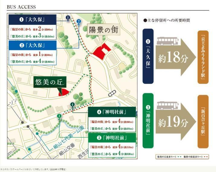 身近なバス停より、「新百合ヶ丘駅」 「京王よみうりランド駅」などへアクセス可能。