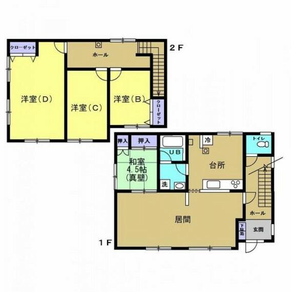 間取り図 【リフォーム後間取図】1階和室を一部をリビング、2階洋室を間取り変更の予定です。対面キッチンに変更予定です。
