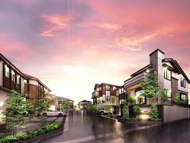 完成予想図(外観) 街並み 2台並列駐車(9区画)のゆとりある敷地。北側の敷地に高さをつける設計により、各住戸に陽光と開放感を取り込む街区設計としています。