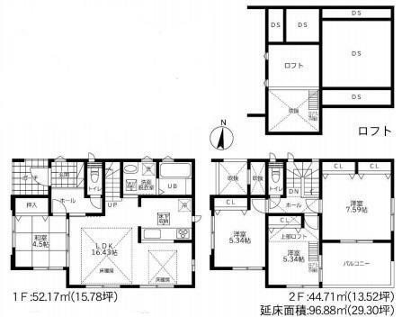 間取り図 B号棟間取り図 価格3980万円(4LDK+S)