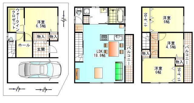 間取り図 都市型3階建住宅