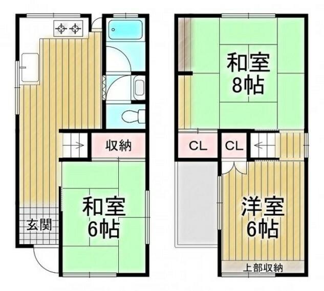 間取り図 3DK、土地面積51.36平米(15.53坪)、建物面積58.64平米(17.73坪)
