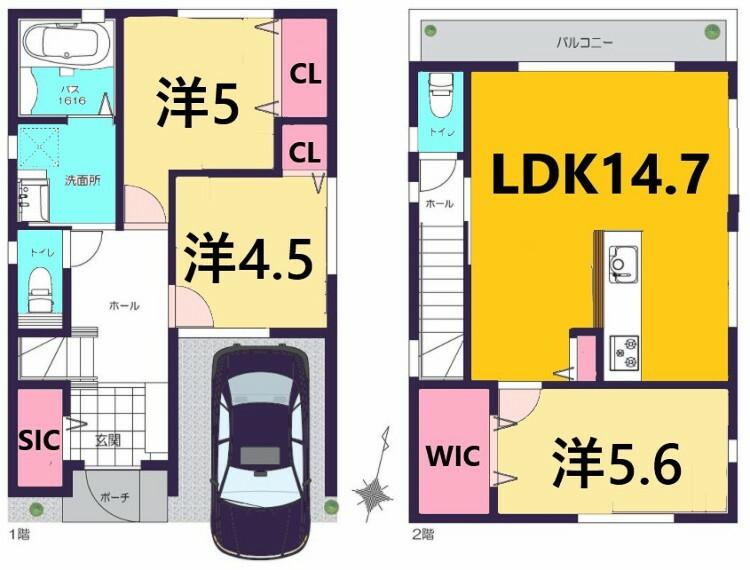 間取り図 土地面積:73.19平米、建物面積:85.72平米、3LDK