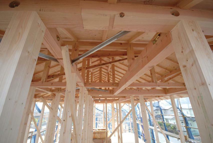 構造・工法・仕様 木造軸組パネル工法 耐久性・安全性に優れ、地震や災害に強い木造軸組パネル工法を採用。木造軸組+パネル工法は、軸組+面の強固なハイブリッド構造。地震などの外力をバランスよく分散する、変形しにくい構造です。