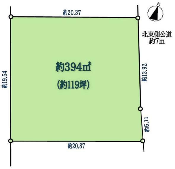 区画図 敷地面積394平米です。お庭をつくったり、ひろい駐車場、南向きのお部屋など快適な住まいを意識したお家ができますね。