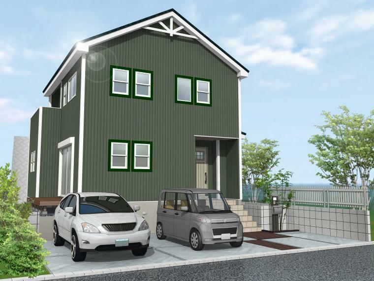 完成予想図(外観) グリーン×グリーンで統一したカリフォルニアスタイル。キッチンの隣に洗面脱衣室を設け水回りの家事動線がスムーズに。リビングの大きな掃出し窓からウッドデッキへ出入りできる、開放感のあるプランです。