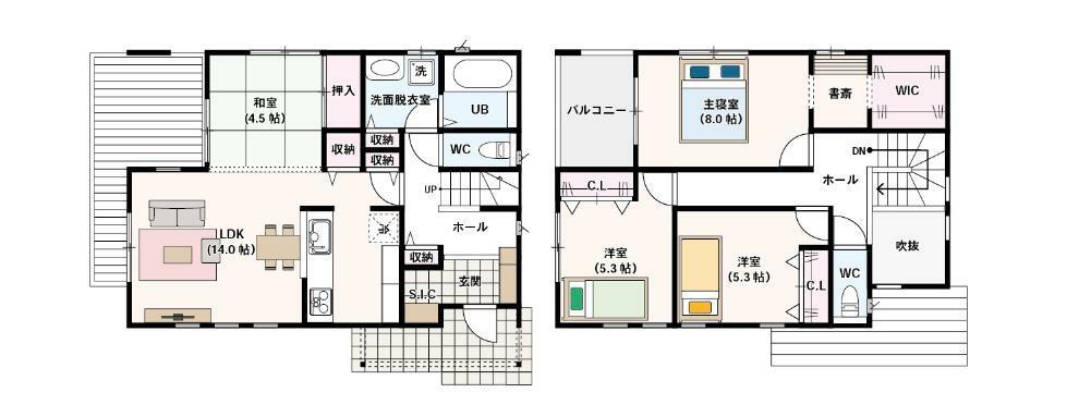 間取り図 3(4)LDK+SIC+WIC ・LDK約14帖、来客時にも便利な和室4.5帖の合計18.5畳!! ・家族でも友達ともみんなで楽しめる大型ウッドデッキ付き! ・LDKには収納とパントリーを完備 ・便利なシューズクローク! ・クローゼット、ウォークインクローゼットを完備しております。 ・寝室からすぐ行ける便利な書斎