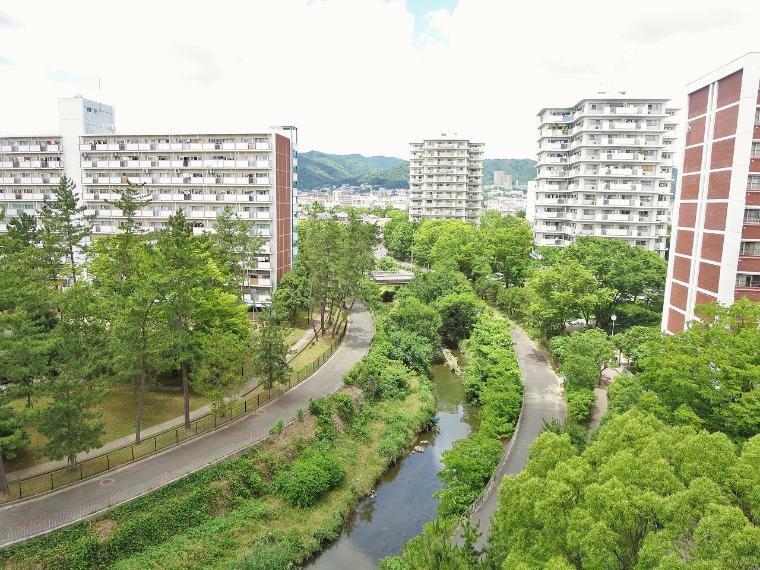 眺望 北側の洋室からは千里川のきれいな緑を見ることも出来ます!静かな環境です。