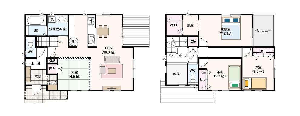 間取り図 3LDK+SIC+WIC ・LDK18帖+畳コーナー4.5畳の22.5畳!! ・リビングに入ってすぐにある便利な階段 ・家族でも友達ともみんなで楽しめるウッドデッキ付き! ・便利なシューズクローク! ・クローゼット、ウォークインクローゼットを完備 ・寝室から直接行ける便利な書斎