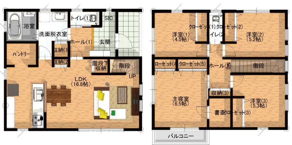 間取り図 4LDK+SIC+WIC ・LDK約17帖 ・家族の絆を深めるリビング階段 ・2階四部屋全てにクローゼット完備! ・キッチン~洗面~廊下~リビングと人気の回遊動線 ・みんなで楽しめるタイルテラス付き! ・便利なシューズクローク! ・とても大きなパントリー! ・リビングには更に2箇所収納あり! ・寝室からすぐ行ける便利な書斎