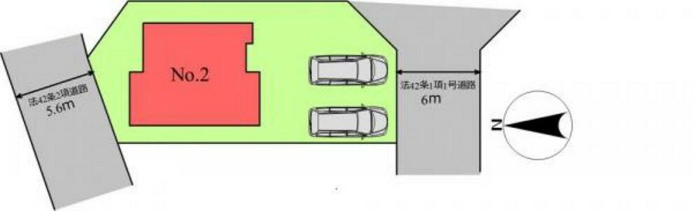 区画図 (区画)並列2台駐車OK!広い前面道路で駐車も楽らく!