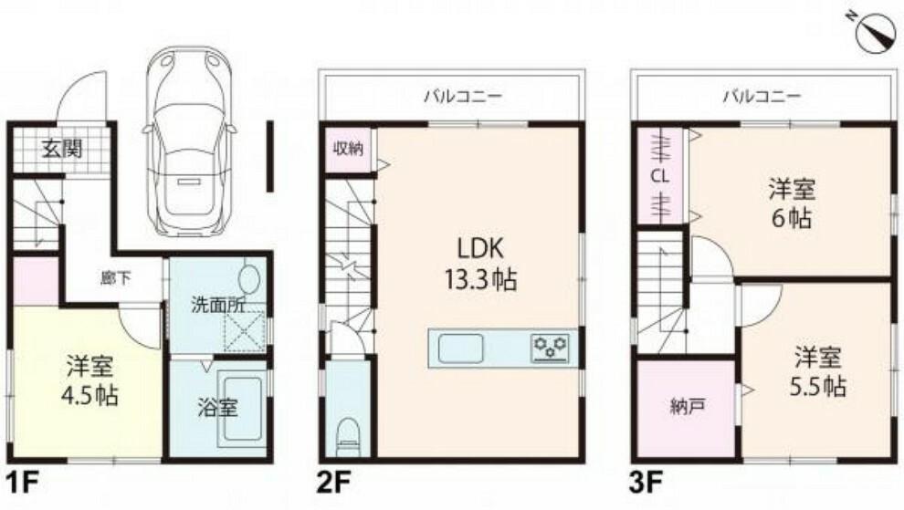 間取り図 3LDKで駐車スペースが有りますのでマンションをお考えの方にもオススメです