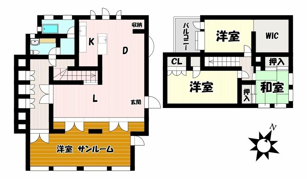 間取り図 デザイン住宅ならではの個性的な間取です 大きなサンルームは寛ぎの時間を過ごせそうですね。収納スペースもしっかりありお部屋がすっきりまとまります