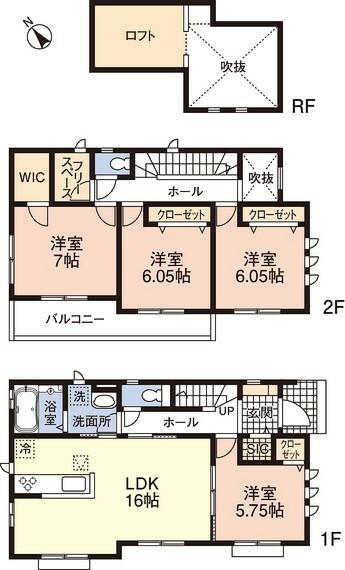 間取り図 3号棟 間取り図です LDK16帖+洋室5.75帖を合わせて21.75帖の広々としたお部屋になります パントリー、ウォークインクローゼット、シューズインクローク付きです