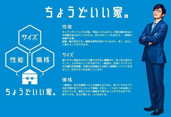 『ちょうどいい家。』  俳優の田中圭さんのCMでおなじみの一建設さんのおうちです。  なんと年間1万棟も売れてます。