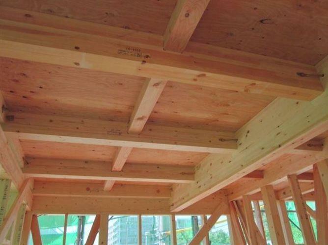 構造・工法・仕様 床に「剛床工法」を採用。これは構造用面材を土台と梁に直接留めつける工法で、床をひとつの面として家全体を一体化することで、横からの力にも強い構造となります。家屋のねじれを防止し、耐震性に優れたています。