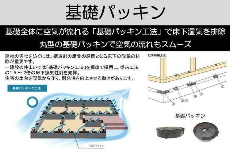 構造・工法・仕様 従来工法の1.5~2倍の床下換気性能を発揮。  住宅の土台を湿気から守り、耐久性を向上させる働きがあります。