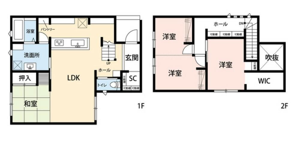 間取り図 4LDKの間取りでゆとりのある暮らしが実現。2階は洋室が3部屋あるのでお子様が大きくなっても安心ですね^^