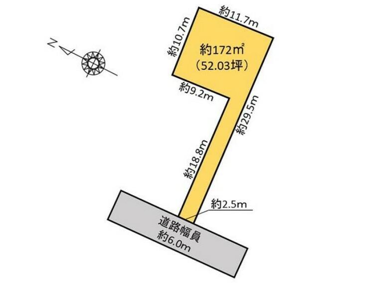 土地図面 敷地面積172m2、約52.03坪です。