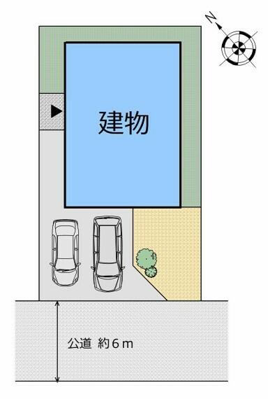 区画図 【全体図】閑静な住宅街で前面道路幅が広いためストレスフリーに駐車できます。