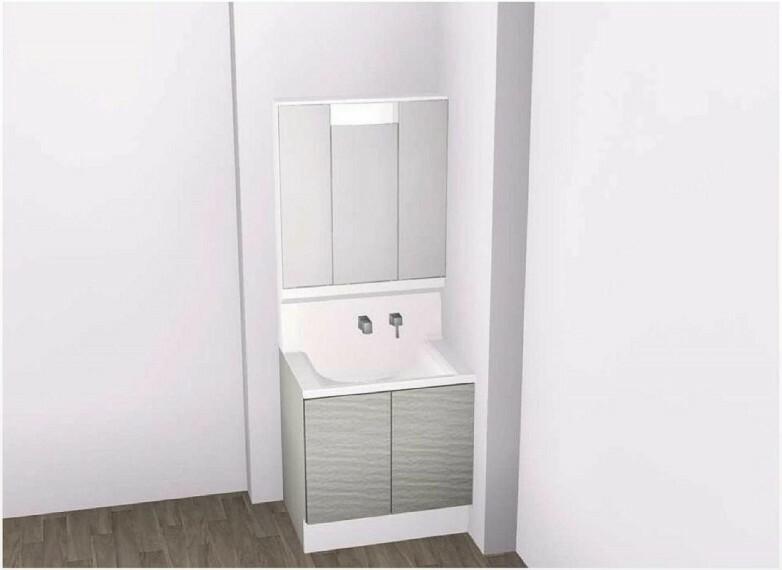 完成予想図(内観) 【洗面台イメージ】大容量収納できる3面鏡!内部のコンセントは電動歯ブラシやシェービングの充電に便利!