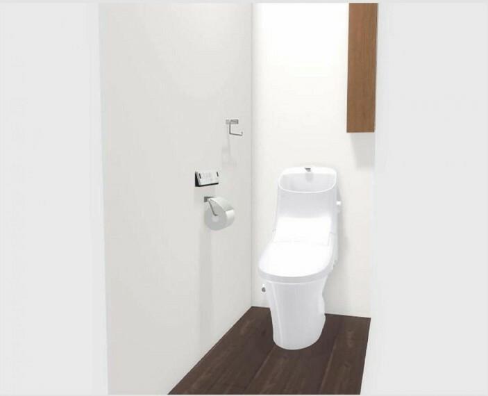 完成予想図(内観) 【2階トイレイメージ】壁付収納棚は空間を圧迫させず、スッキリ空間且つ開放的なトイレを実現します!