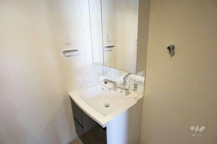 洗面化粧台 洗面所。洗濯機置場もあり、十分なサイズです。[2021年2月11日撮影]