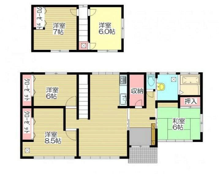 間取り図 【間取図】RF後予定の間取です。4~5人家族におすすめの5LDKのおうちです。家族全員のプライベートを確保できる部屋数です。
