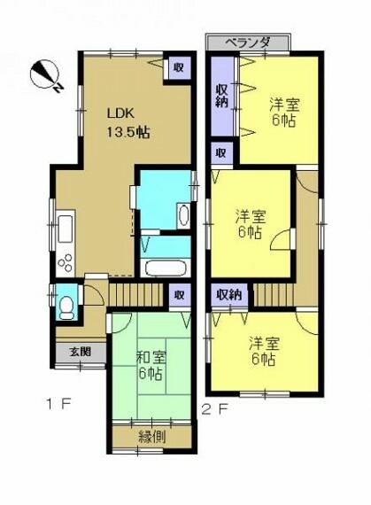 間取り図 【リフォーム後間取り図】LDKの拡張、2階を全て洋室へ間取り変更、お風呂、洗面脱衣所の拡張工事を行います。