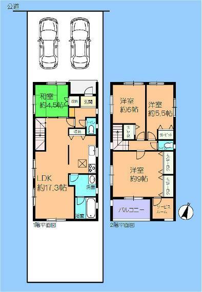 間取り図 5号棟 3LDK+タタミスペース+サービスルーム 並列で2台駐車できます