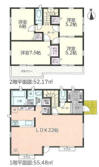 間取り図 リビングは22帖の広々空間! 全居室フローリングタイプで、シューズクロークなど収納もたっぷり!