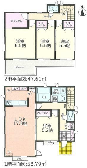 間取り図 リビングは17.8帖の広々空間! 全居室フローリングタイプで、ウォークインクローゼットなど収納もたっぷり!