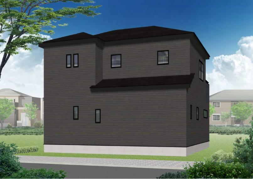 完成予想図(外観) 4号棟はブラックを基調としたオシャレな外観!