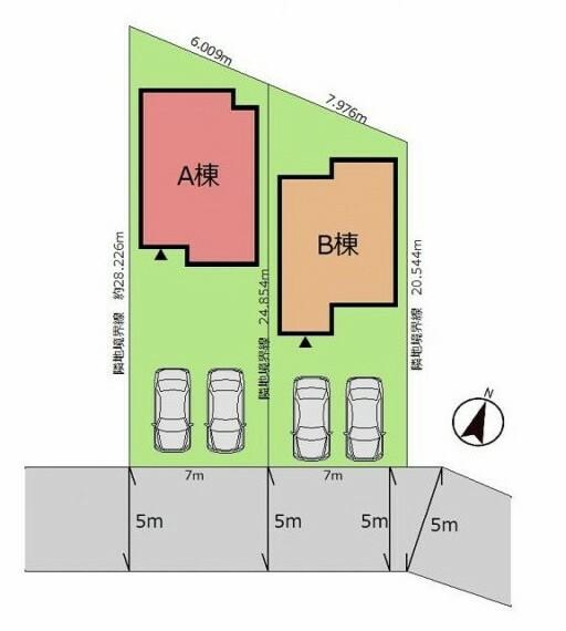 区画図 (区画図)駐車スペース並列2台分をご用意!南道路に面した陽当たりもバッチリの立地です!