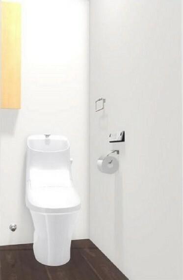 完成予想図(内観) (内装イメージ/トイレ)フチレスで汚れがたまりにくい!地球環境に配慮した超節水タイプ!便利な壁付収納棚あり。