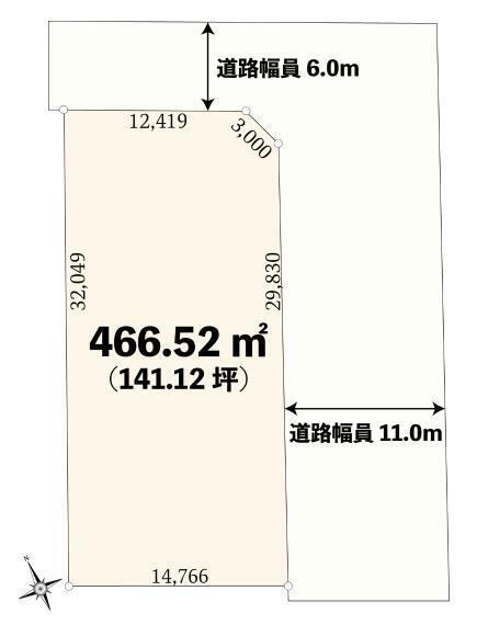 土地図面 土地価格2億8950万円、土地面積466.52m2