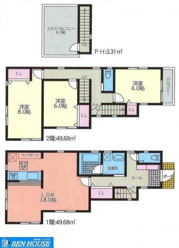 間取り図 間取図・約18帖のリビングではご家族皆さまでゆったり過ごせます・対面キッチンでリビング全体を伺いながらお料理できますね・居室3室は6帖超の広さで、それぞれのお部屋でもゆったり過ごせますね