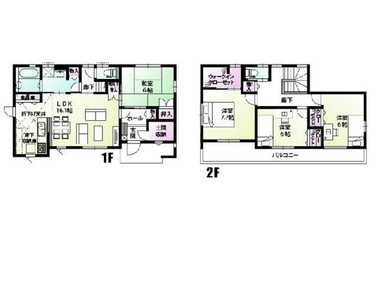 間取り図 妻沼4区画 間取図・・・使い勝手の良い家事動線が特徴です。