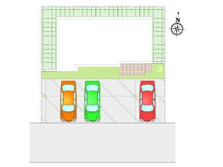 区画図 妻沼4区画 区画図・・・駐車スペースは4台以上確保しました。南道路のため、駐車もラクラクです。