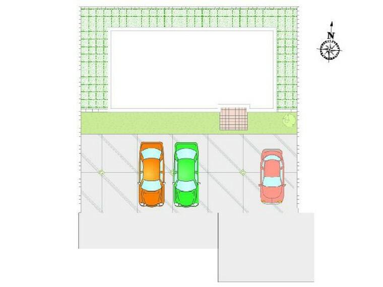 区画図 妻沼C号棟 区画図・・・駐車スペースは3台以上確保しました。南道路のため、駐車もラクラクです。