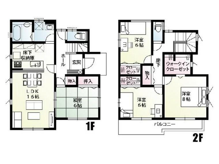 間取り図 A号棟:間取り図・・・キッチンから水回りにかけての家事動線に優れた間取りです。