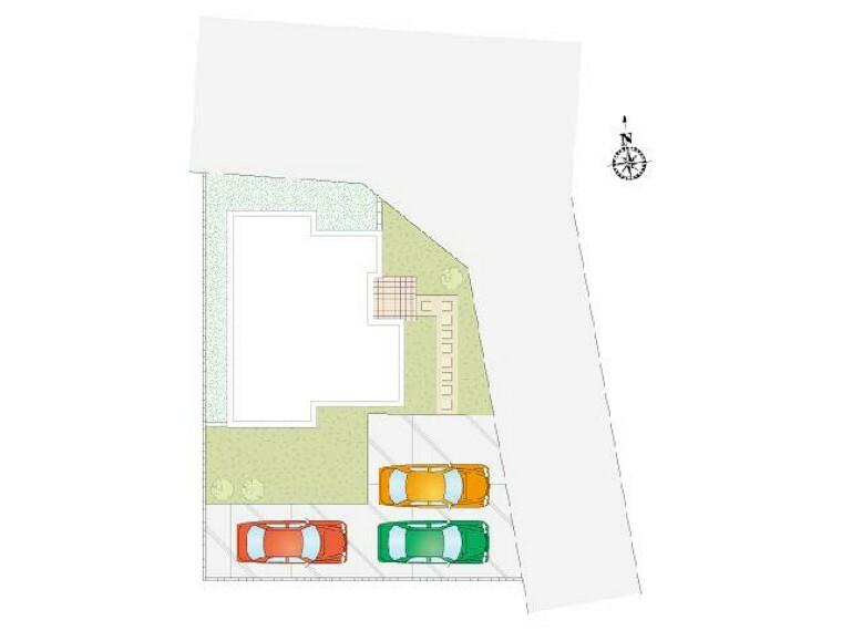 区画図 A号棟:配置図・・・3台駐車可能。お友達が遊びに来ても安心ですね。