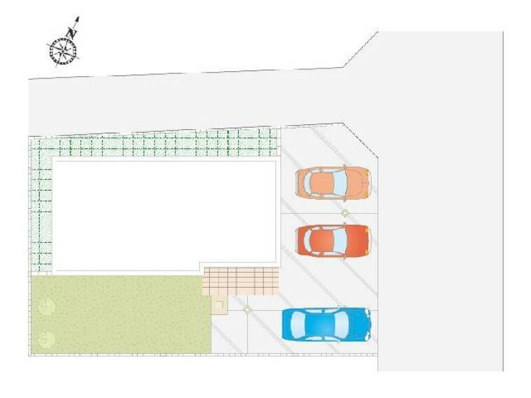 区画図 A号棟 区画図・・・駐車スペースは3台分並列駐車できます。お庭もあり、お子様もお庭で遊ぶことができます。